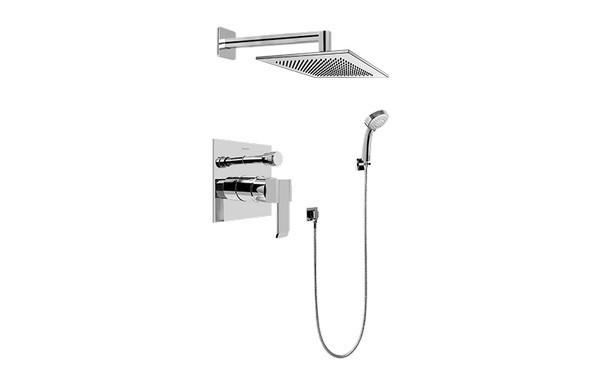 GRAFF G-7296-LM38S QUBIC CONTEMPORARY PRESSURE BALANCING SHOWER SET
