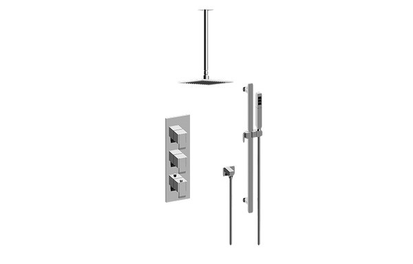 GRAFF GM3.011WB-LM38E0 QUBIC THERMOSTATIC SHOWER SYSTEM - SHOWER WITH HANDSHOWER