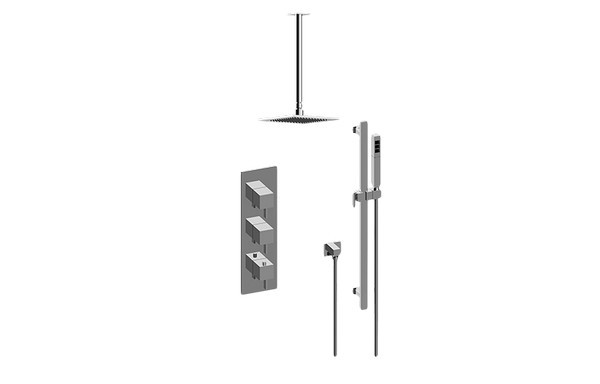 GRAFF GM3.011WB-LM39E0 QUBIC TRE THERMOSTATIC SHOWER SYSTEM - SHOWER WITH HANDSHOWER