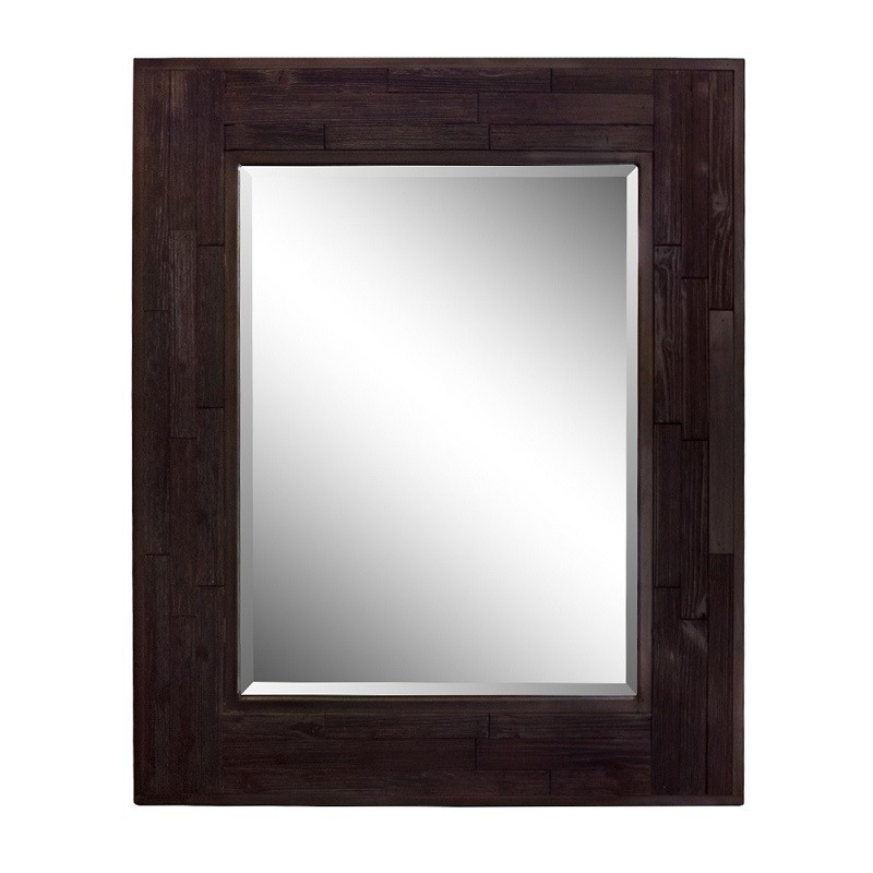 H Inch Rectangle Wood Frame Mirror, Dark Brown Wood Bathroom Mirror