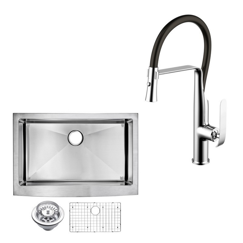 WATER-CREATION CF511-AS-3322B 33 X 22 INCH 15MM CORNER RADIUS SINGLE BOWL STAINLESS STEEL HAND MADE APRON FRONT KITCHEN SINK WITH DRAIN, STRAINER, BOTTOM GRID, AND SINGLE HOLE FAUCET