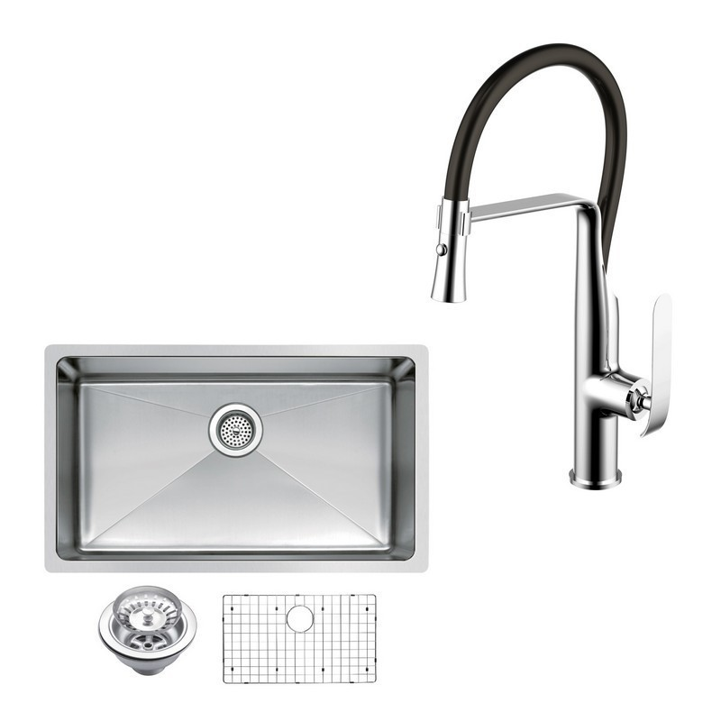 WATER-CREATION CF511-US-3018B 30 X 18 INCH SINGLE BOWL STAINLESS STEEL HAND MADE UNDERMOUNT KITCHEN SINK WITH COVED CORNERS, DRAIN, STRAINER, BOTTOM GRID, AND SINGLE HOLE FAUCET