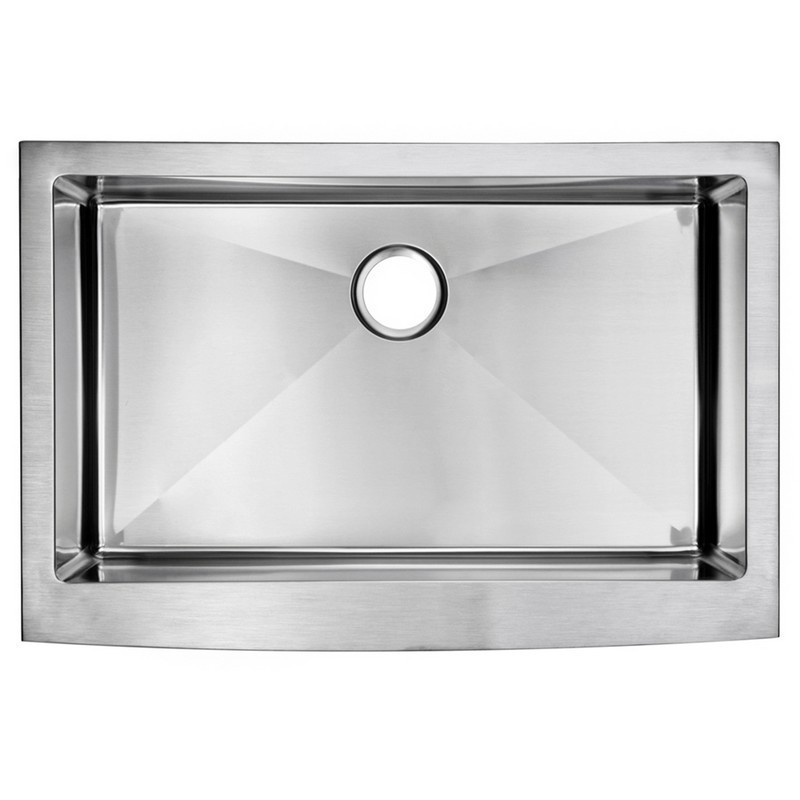WATER-CREATION SS-AS-3322B-16 33 X 22 INCH 15MM CORNER RADIUS SINGLE BOWL STAINLESS STEEL HAND MADE APRON FRONT KITCHEN SINK