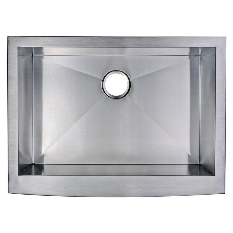 WATER-CREATION SSS-AS-3022A-16 30 X 22 INCH ZERO RADIUS SINGLE BOWL STAINLESS STEEL HAND MADE APRON FRONT KITCHEN SINK WITH DRAIN AND STRAINER