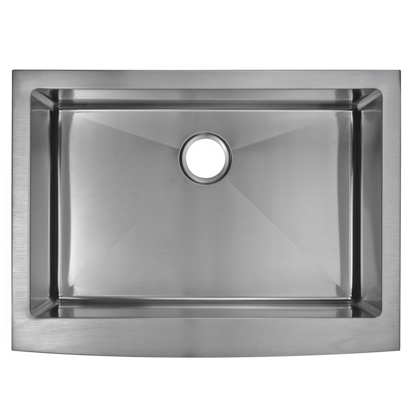 WATER-CREATION SSS-AS-3022B-16 30 X 22 INCH 15MM CORNER RADIUS SINGLE BOWL STAINLESS STEEL HAND MADE APRON FRONT KITCHEN SINK WITH DRAIN AND STRAINER