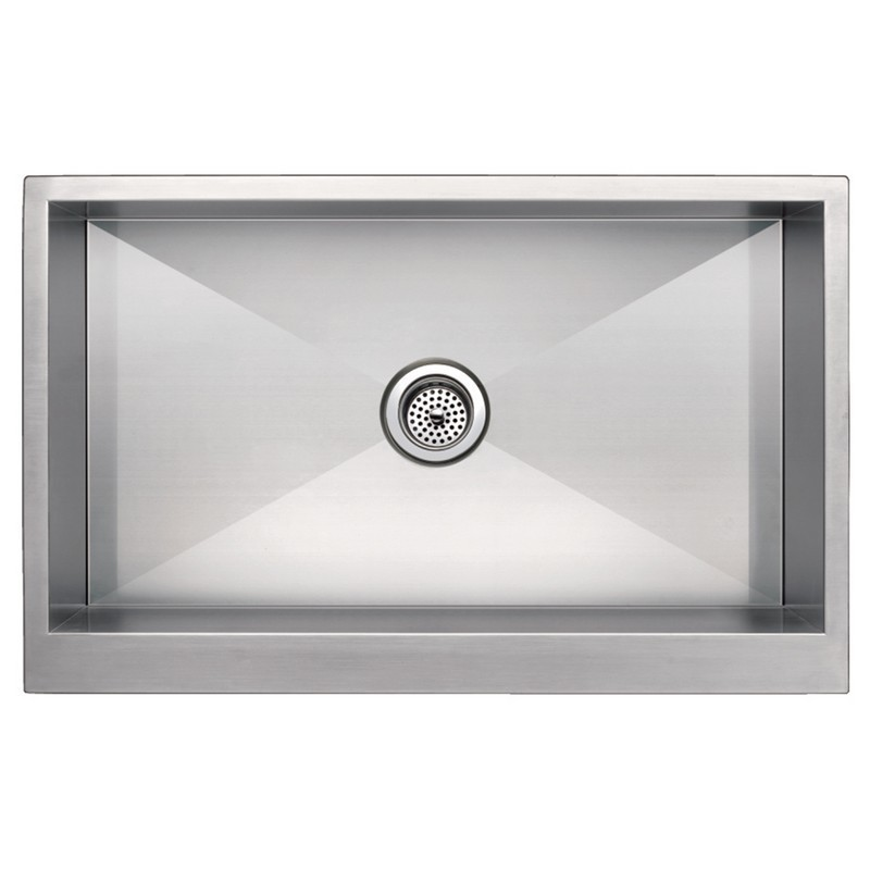 WATER-CREATION SSS-AS-3321A-16 33 X 21 INCH ZERO RADIUS SINGLE BOWL STAINLESS STEEL HAND MADE APRON FRONT KITCHEN SINK WITH DRAIN AND STRAINER