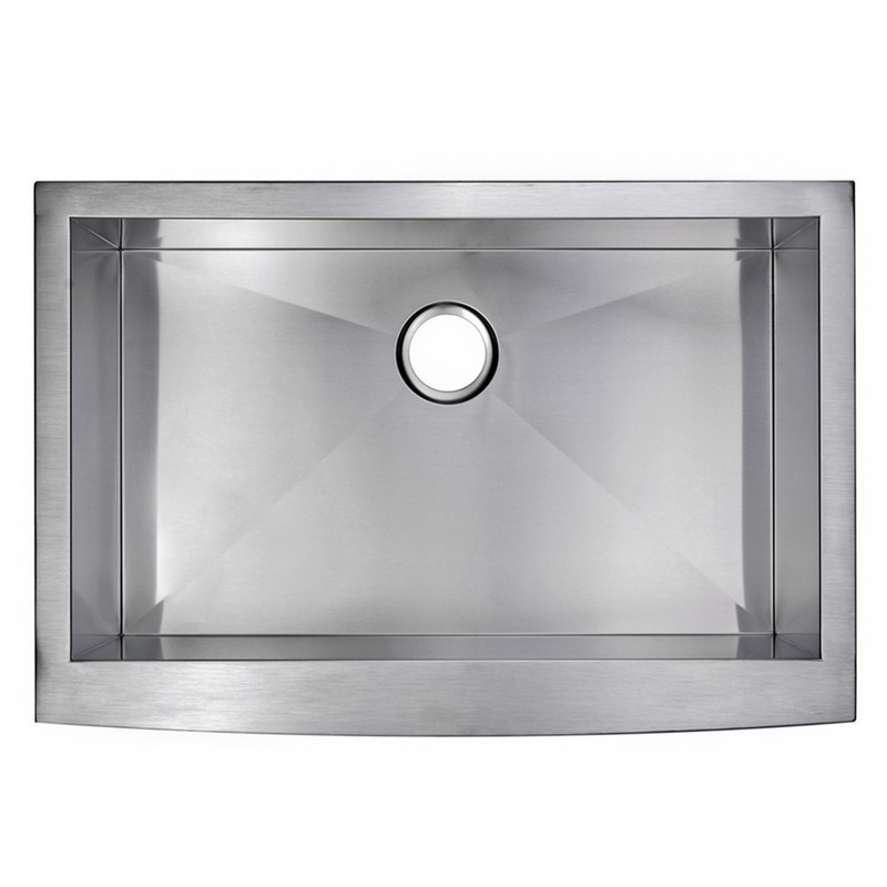 WATER-CREATION SSS-AS-3322A 33 X 22 INCH ZERO RADIUS SINGLE BOWL STAINLESS STEEL HAND MADE APRON FRONT KITCHEN SINK WITH DRAIN AND STRAINER