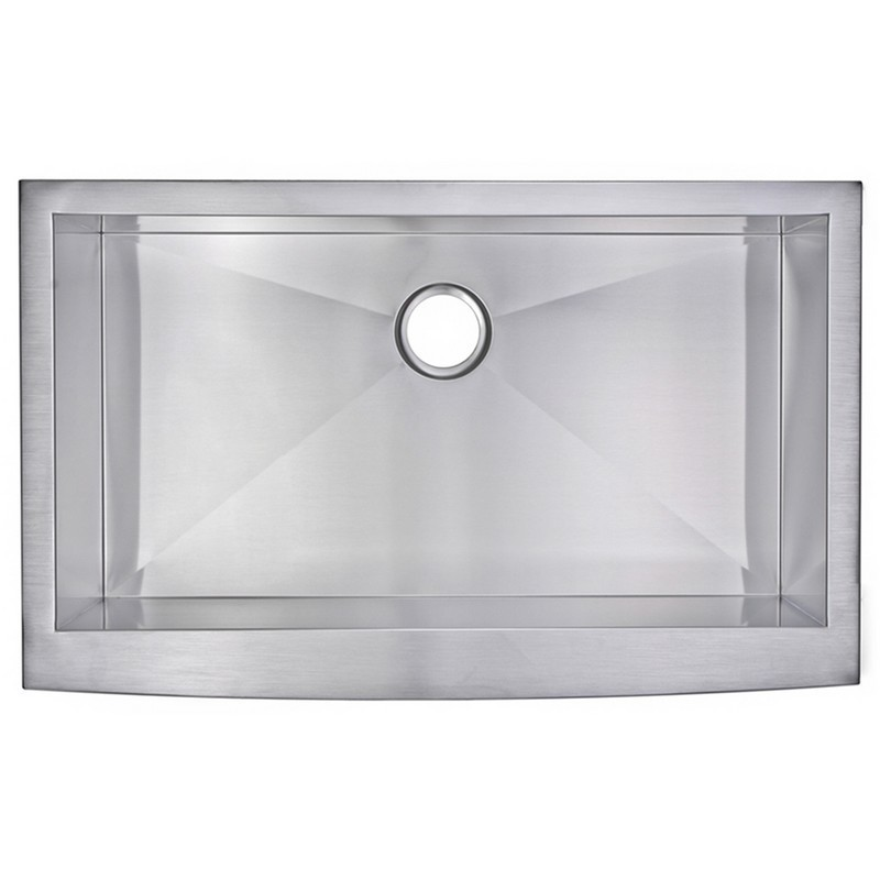 WATER-CREATION SSS-AS-3622A 36 X 22 INCH ZERO RADIUS SINGLE BOWL STAINLESS STEEL HAND MADE APRON FRONT KITCHEN SINK WITH DRAIN AND STRAINER