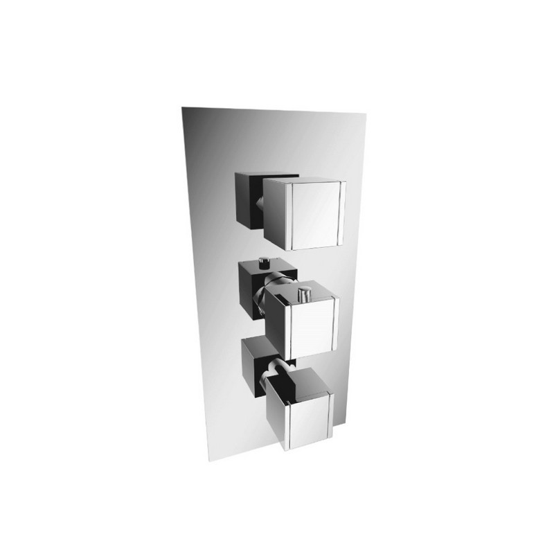 ISENBERG 150.4501CP SERIE 150 3/4 INCH THERMOSTATIC VALVE - 3 OUTPUT WITH VOLUME CONTROL AND TRIM - SHARED PORT OPERATION IN CHROME