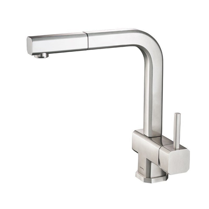 ISENBERG K.1300 CITO - DUAL SPRAY POLISHED STEEL KITCHEN FAUCET WITH PULL OUT