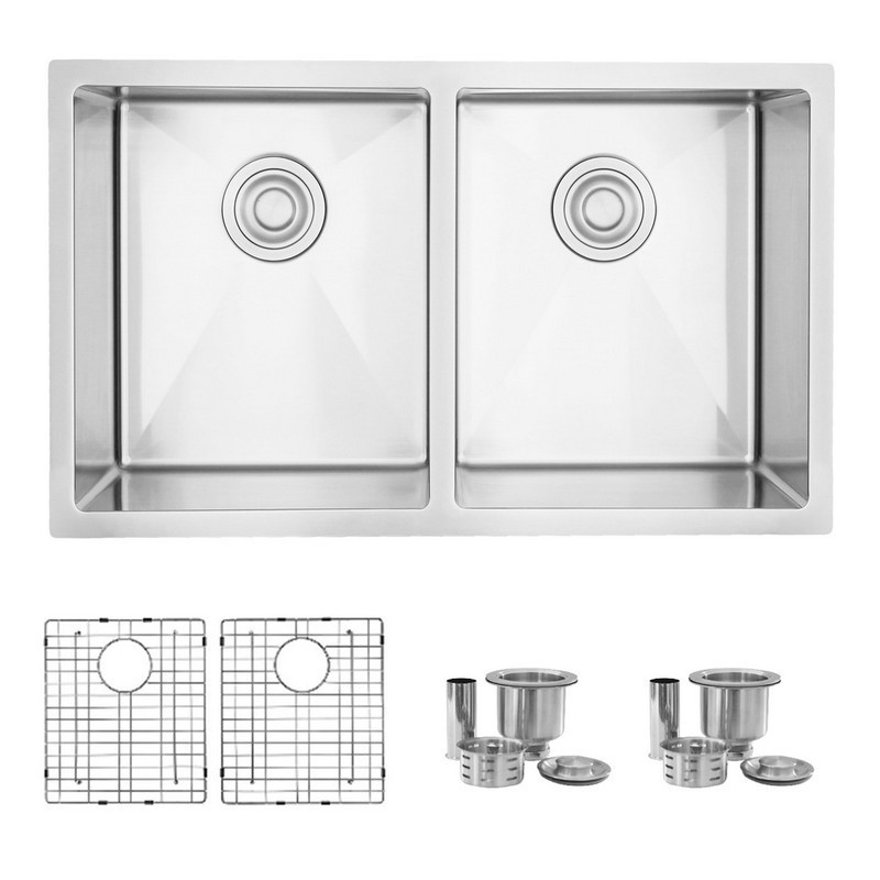 STYLISH S-304XG ONYX 30 X 18 INCH UNDERMOUNT DOUBLE BOWL STAINLESS STEEL KITCHEN SINK WITH GRIDS AND STRAINERS