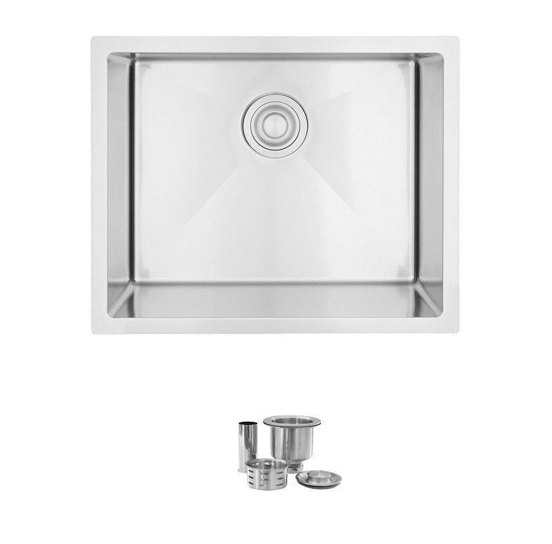 STYLISH S-320T SPINEL 22 X 18 INCH DUAL MOUNT SINGLE BOWL STAINLESS STEEL LAUNDRY SINK WITH STRAINER