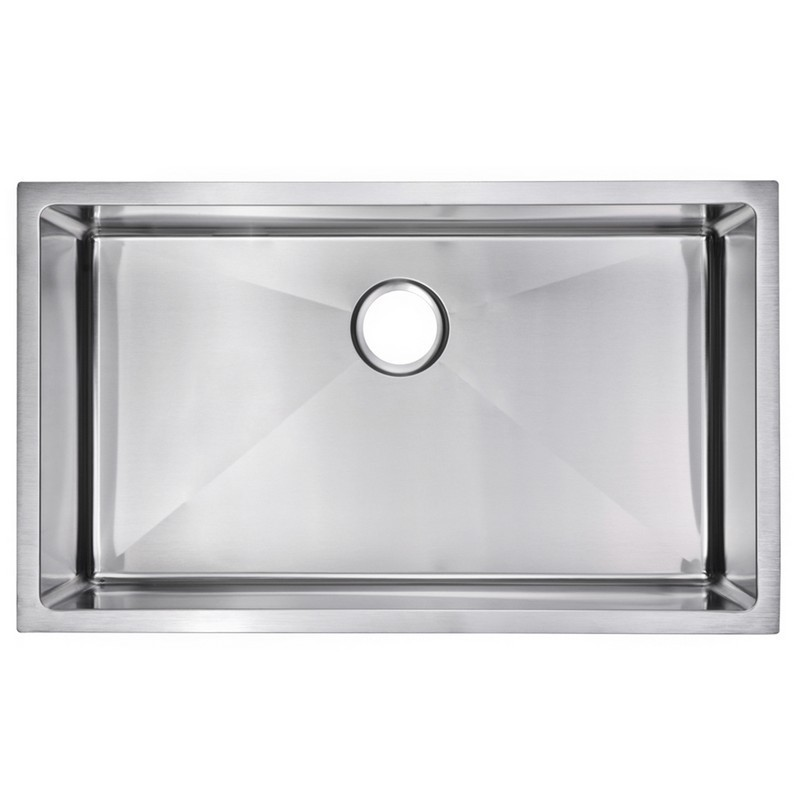 Water-Creation SSSG-US-3219B-16 32 X 19 Inch 15mm Corner Radius Single Bowl  Stainless Steel Hand Made Undermount Kitchen Sink With Drain, Strainer, ...