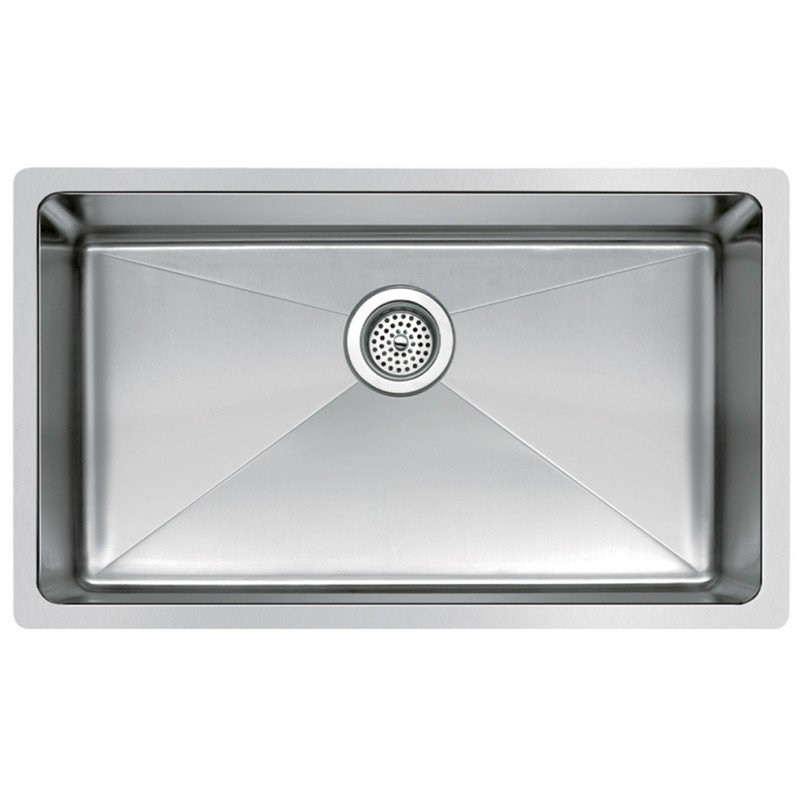WATER-CREATION SSS-U-3018B 30 X 18 INCH SINGLE BOWL STAINLESS STEEL HAND MADE UNDERMOUNT KITCHEN SINK WITH COVED CORNERS, DRAIN AND STRAINER