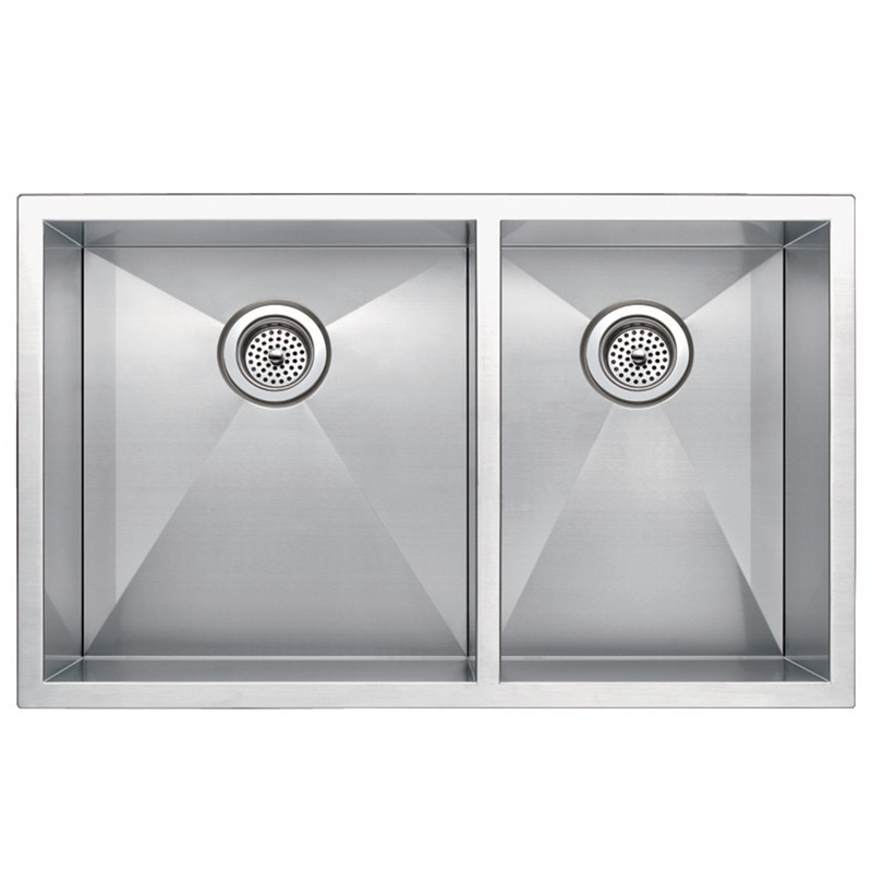 WATER-CREATION SSS-UD-3320A-16 33 X 20 INCH ZERO RADIUS 60/40 DOUBLE BOWL STAINLESS STEEL HAND MADE UNDERMOUNT KITCHEN SINK WITH DRAINS AND STRAINERS