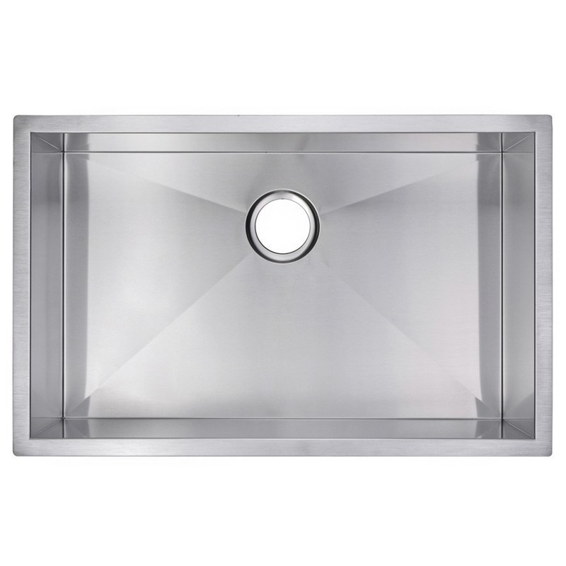 WATER-CREATION SSS-US-3019A 30 X 19 INCH ZERO RADIUS SINGLE BOWL STAINLESS STEEL HAND MADE UNDERMOUNT KITCHEN SINK WITH DRAIN AND STRAINER