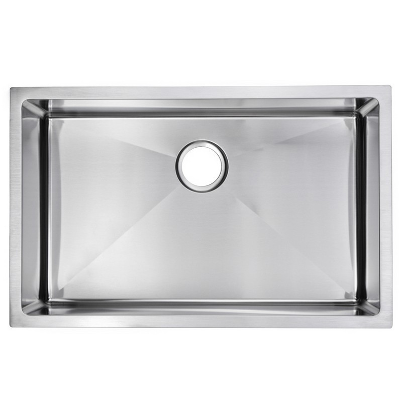 WATER-CREATION SSS-US-3019B 30 X 19 INCH 15MM CORNER RADIUS SINGLE BOWL STAINLESS STEEL HAND MADE UNDERMOUNT KITCHEN SINK WITH DRAIN AND STRAINER