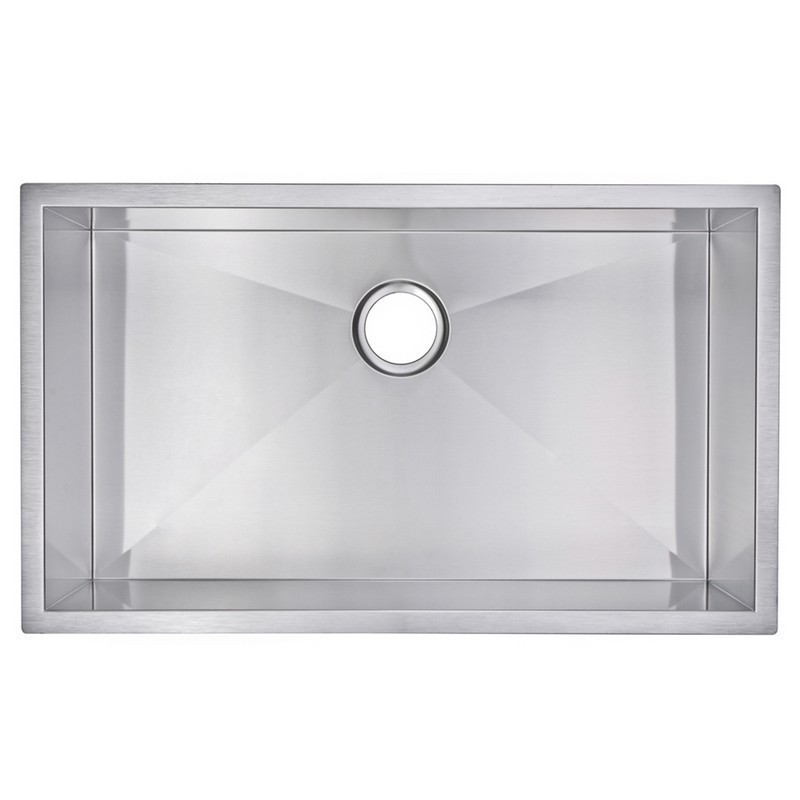 WATER-CREATION SSS-US-3219A-16 32 X 19 INCH ZERO RADIUS SINGLE BOWL STAINLESS STEEL HAND MADE UNDERMOUNT KITCHEN SINK WITH DRAIN AND STRAINER