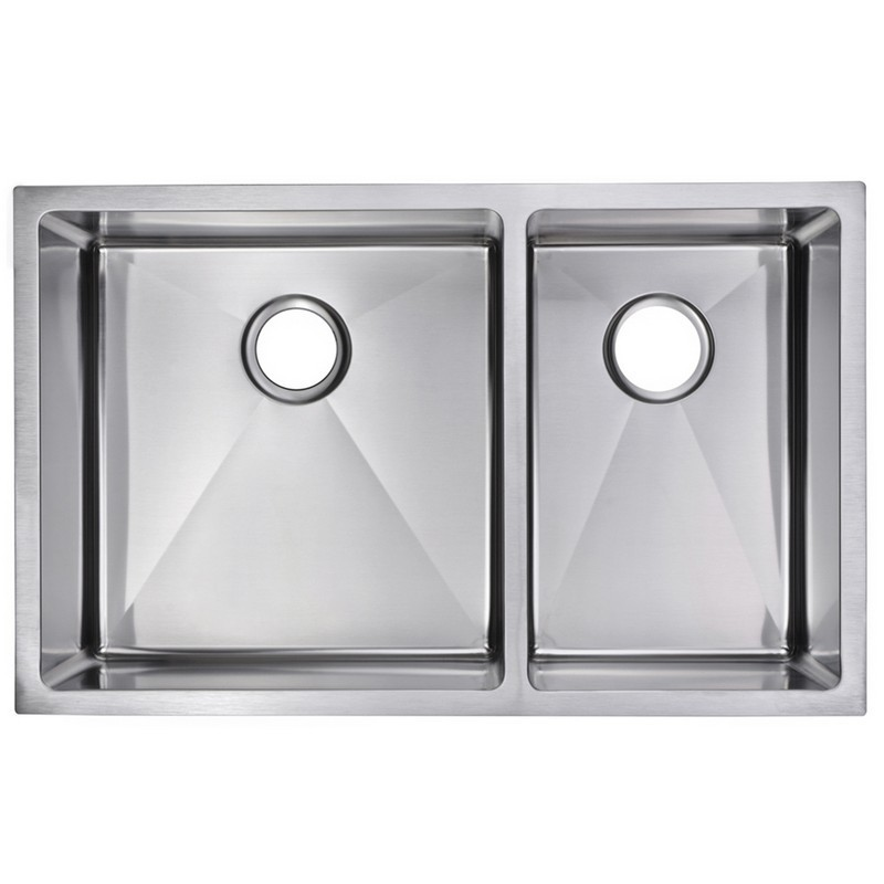 WATER-CREATION SSSG-UD-3220B-16 33 X 20 INCH 15MM CORNER RADIUS 60/40 DOUBLE BOWL STAINLESS STEEL HAND MADE UNDERMOUNT KITCHEN SINK WITH DRAINS, STRAINERS, AND BOTTOM GRIDS