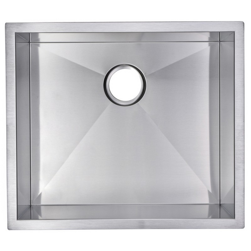 WATER-CREATION SSSG-US-2320A-16 23 X 20 INCH ZERO RADIUS SINGLE BOWL STAINLESS STEEL HAND MADE UNDERMOUNT KITCHEN SINK WITH DRAIN, STRAINER, AND BOTTOM GRID