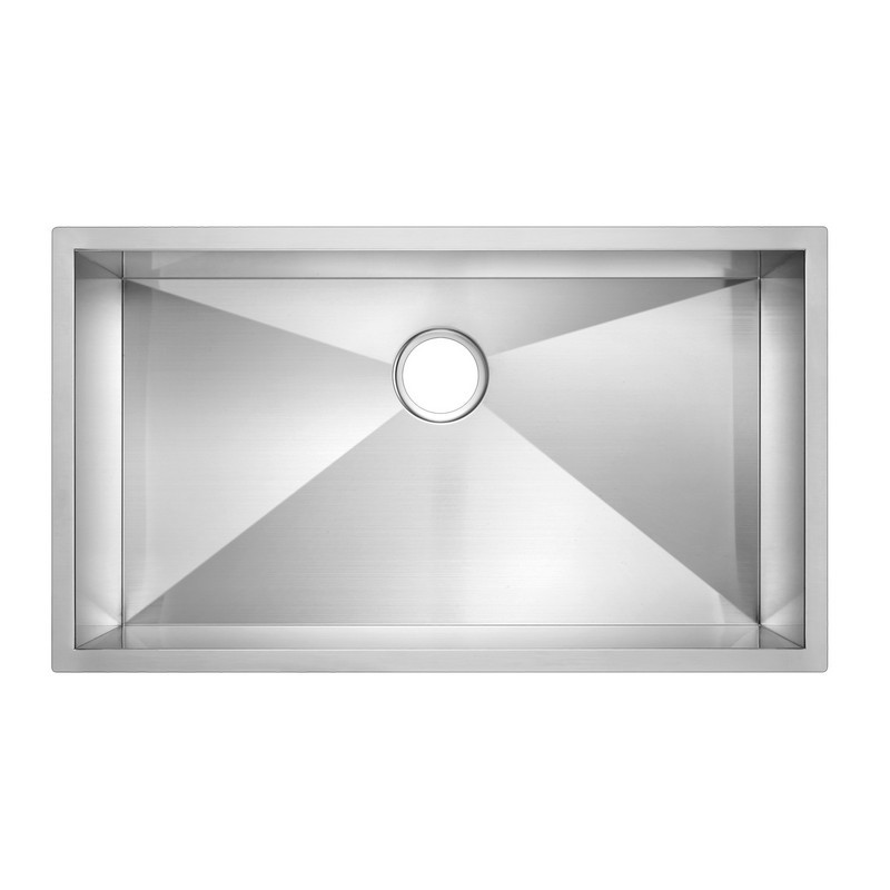 WATER-CREATION SSSG-US-3319A-16 33 X 19 INCH ZERO RADIUS SINGLE BOWL STAINLESS STEEL HAND MADE UNDERMOUNT KITCHEN SINK WITH DRAIN, STRAINER, AND BOTTOM GRID