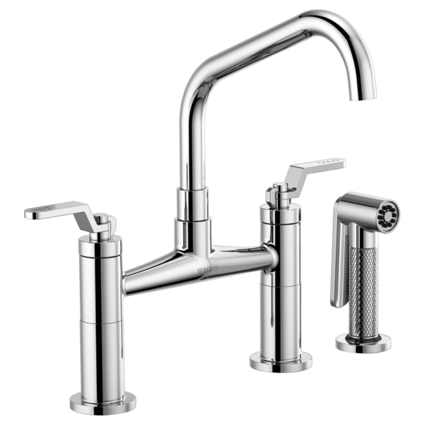 Brizo 62564LF Litze Bridge Faucet with Angled Spout and Industrial Handle