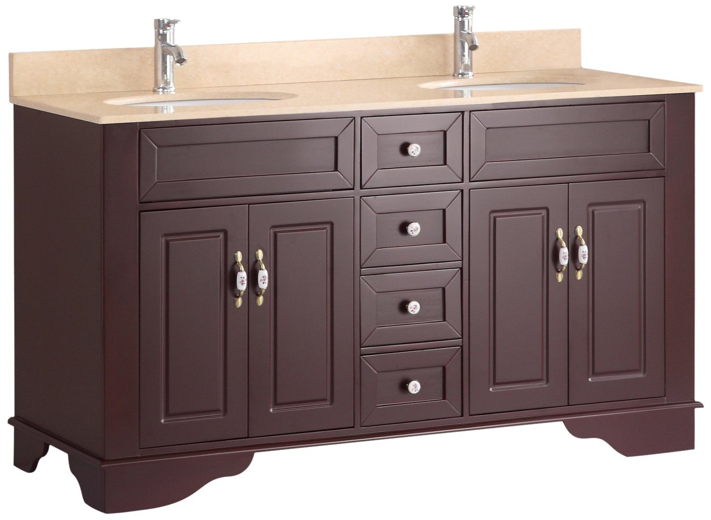 Bosconi A-5092B 59 Inch Free Standing Vanity Set with Wood Cabinet, Marble Top, and 2 Undermount Sinks in Amber Red