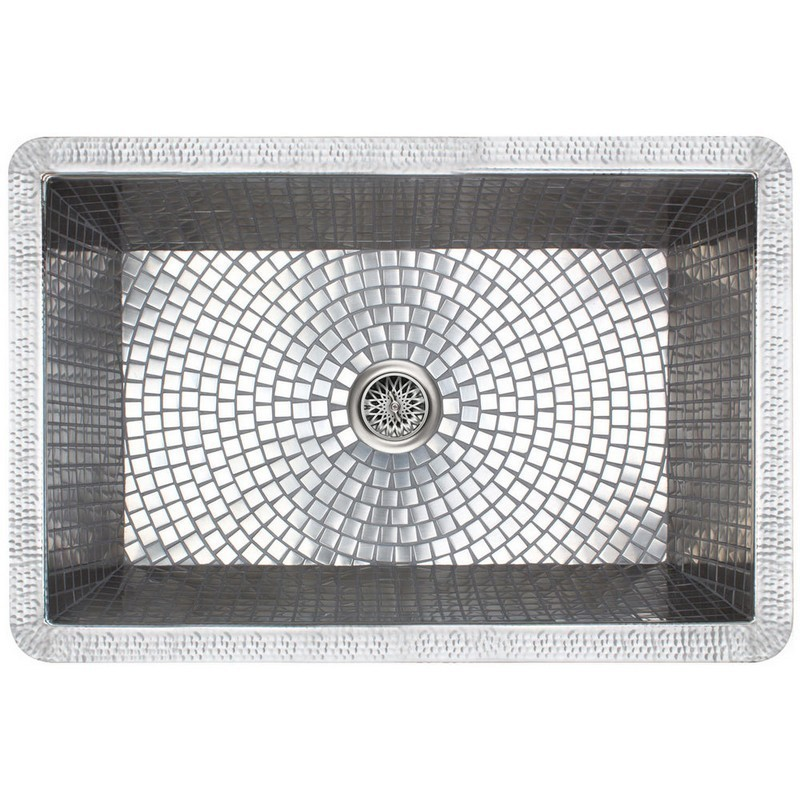 LINKASINK V030 FARMHOUSE 30 INCH DROP IN/UNDERMOUNT SATIN NICKEL KITCHEN SINK WITH STAINLESS STEEL MOSAIC TILE INTERIOR