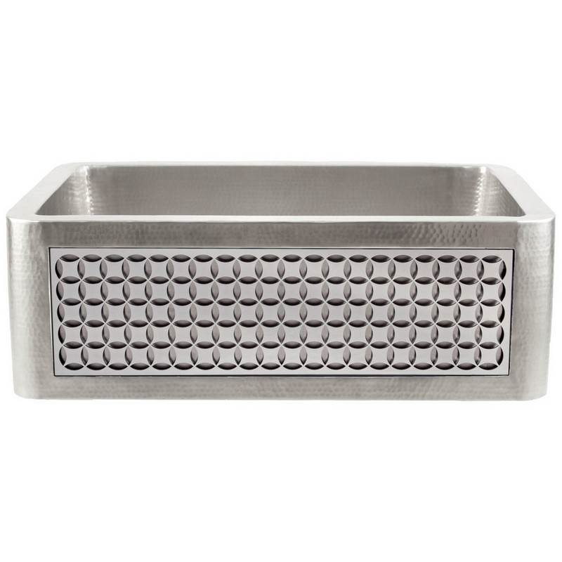 LINKASINK C070-30 SS PNL103 INSET APRON COLLECTION 30 INCH UNDERMOUNT FARM HOUSE STAINLESS STEEL KITCHEN SINK WITH CIRCLES PANEL
