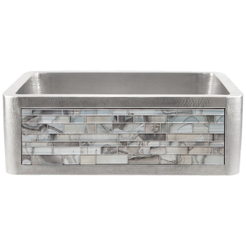 LINKASINK C070-30 SS PNL201 INSET APRON COLLECTION 30 INCH UNDERMOUNT FARM HOUSE STAINLESS STEEL KITCHEN SINK WITH METALLIC AGATE GLASS TILES PANEL