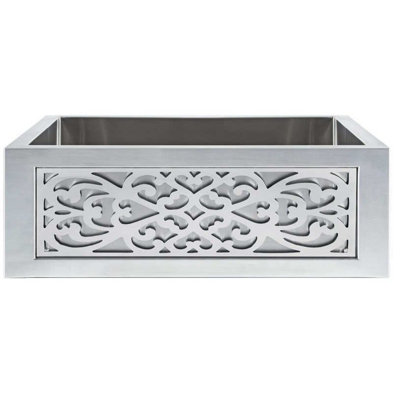 LINKASINK C071-30 SS PNL105 INSET APRON COLLECTION 30 INCH UNDERMOUNT FARM HOUSE STAINLESS STEEL KITCHEN SINK WITH FILIGREE PANEL