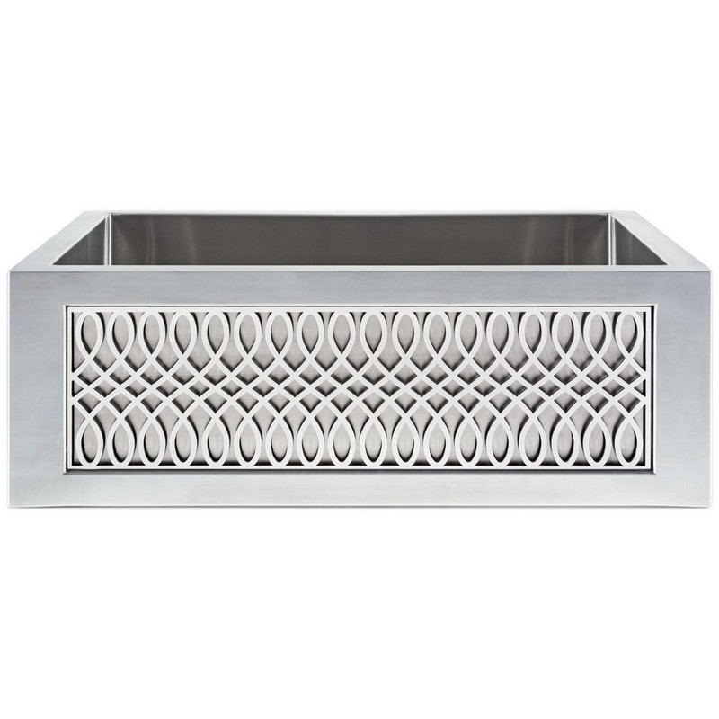 LINKASINK C071-30 SS PNL101 INSET APRON COLLECTION 30 INCH UNDERMOUNT FARM HOUSE STAINLESS STEEL KITCHEN SINK WITH LYRE PANEL