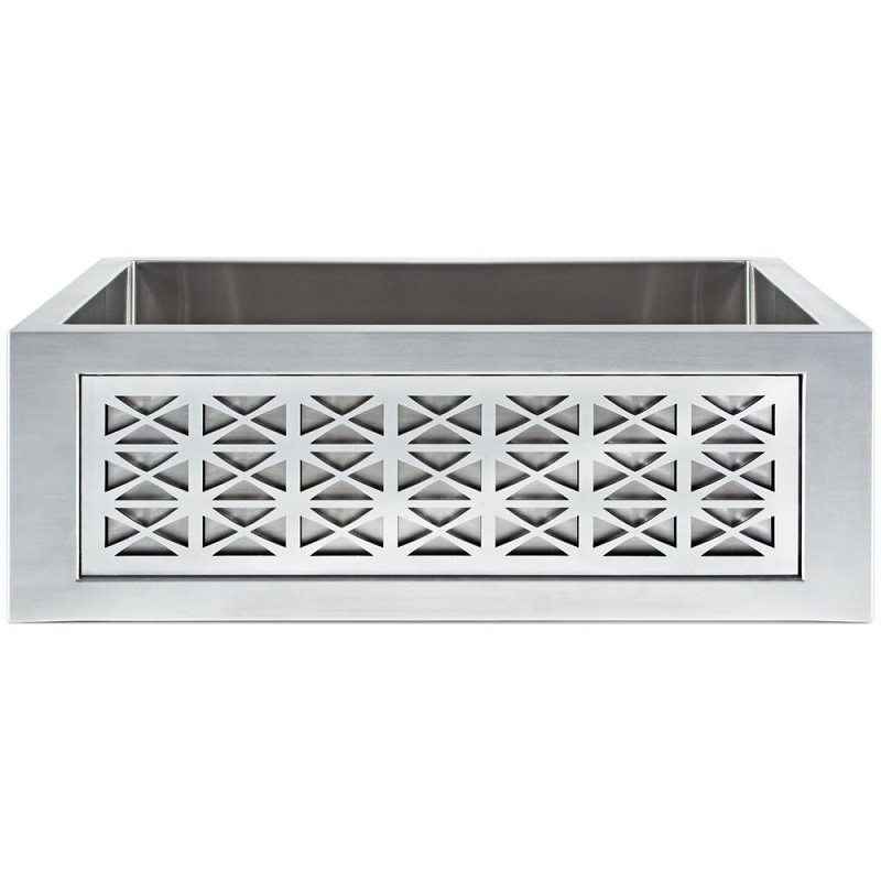LINKASINK C071-30 SS PNL101 INSET APRON COLLECTION 30 INCH UNDERMOUNT FARM HOUSE STAINLESS STEEL KITCHEN SINK WITH SPOKE PANEL