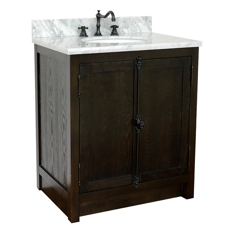 BELLATERRA 400100-BA-WMO PLANTATION 31 INCH SINGLE VANITY IN BROWN ASH WITH WHITE CARRARA TOP AND OVAL SINK