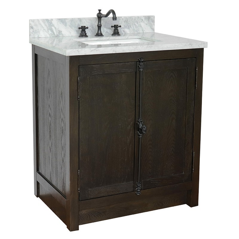 BELLATERRA 400100-BA-WMR PLANTATION 31 INCH SINGLE VANITY IN BROWN ASH WITH WHITE CARRARA TOP AND RECTANGLE SINK