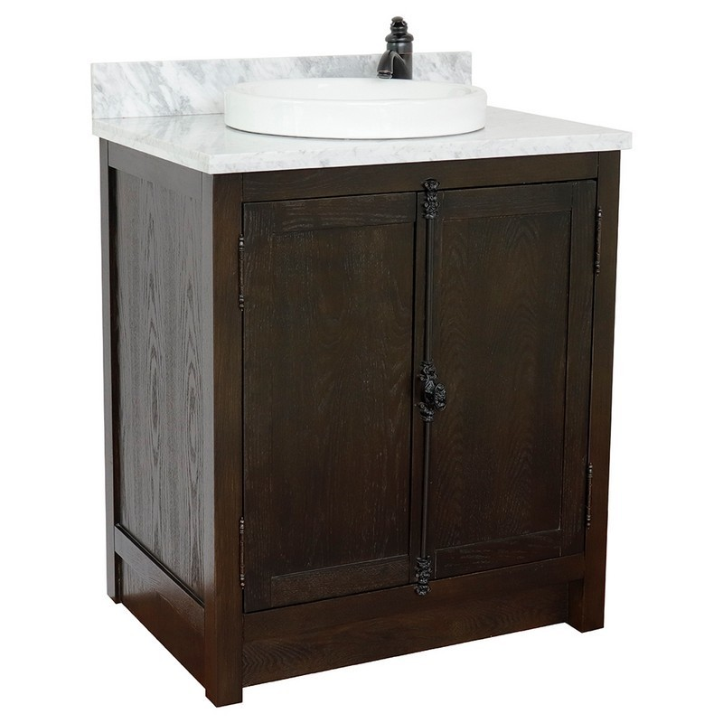 BELLATERRA 400100-BA-WMRD PLANTATION 31 INCH SINGLE VANITY IN BROWN ASH WITH WHITE CARRARA TOP AND ROUND SINK