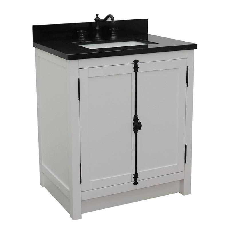 BELLATERRA 400100-GA-BGR PLANTATION 31 INCH SINGLE VANITY IN GLACIER ASH WITH BLACK GALAXY TOP AND RECTANGLE SINK