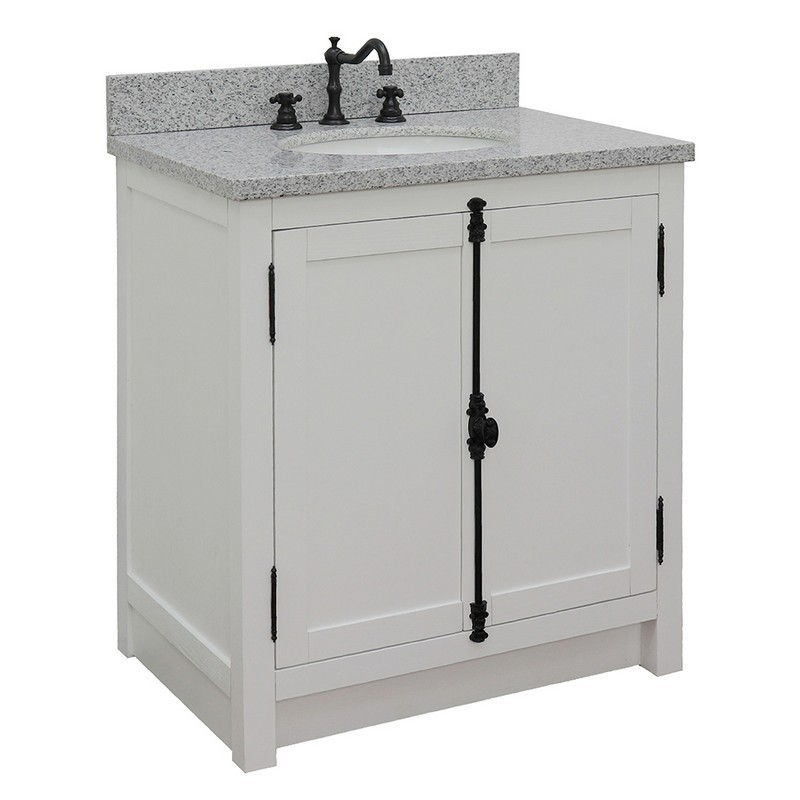 BELLATERRA 400100-GA-GYO PLANTATION 31 INCH SINGLE VANITY IN GLACIER ASH WITH GRAY GRANITE TOP AND OVAL SINK