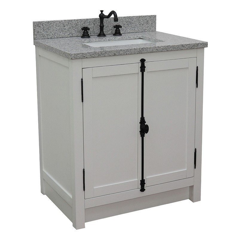 BELLATERRA 400100-GA-GYR PLANTATION 31 INCH SINGLE VANITY IN GLACIER ASH WITH GRAY GRANITE TOP AND RECTANGLE SINK