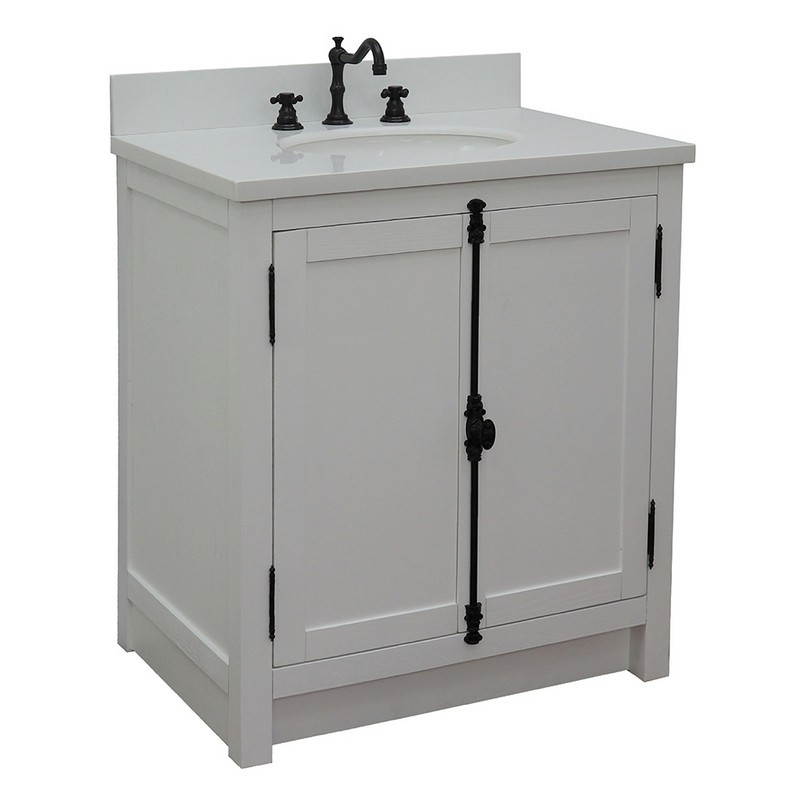 BELLATERRA 400100-GA-WEO PLANTATION 31 INCH SINGLE VANITY IN GLACIER ASH WITH WHITE QUARTZ TOP AND OVAL SINK