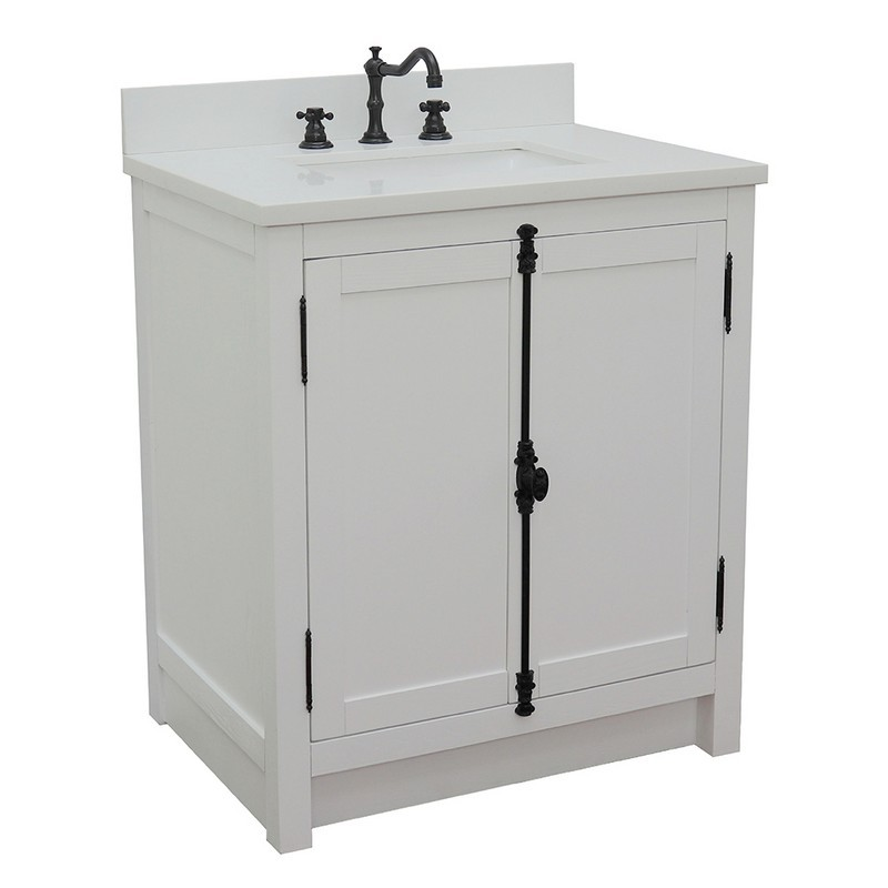 BELLATERRA 400100-GA-WER PLANTATION 31 INCH SINGLE VANITY IN GLACIER ASH WITH WHITE QUARTZ TOP AND RECTANGLE SINK