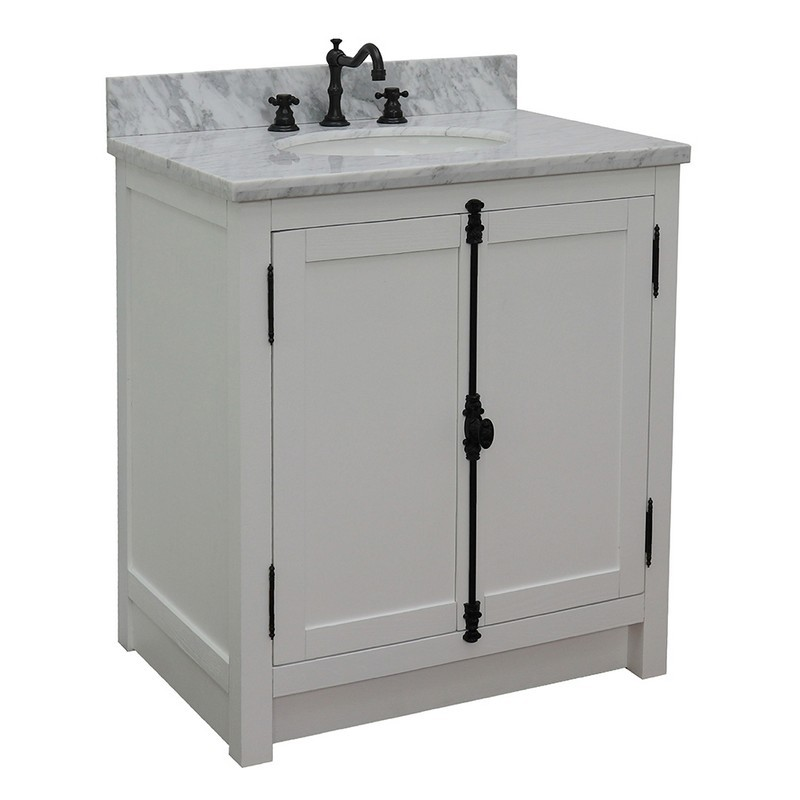 BELLATERRA 400100-GA-WMO PLANTATION 31 INCH SINGLE VANITY IN GLACIER ASH WITH WHITE CARRARA TOP AND OVAL SINK