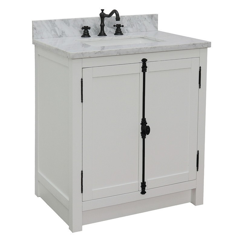 BELLATERRA 400100-GA-WMR PLANTATION 31 INCH SINGLE VANITY IN GLACIER ASH WITH WHITE CARRARA TOP AND RECTANGLE SINK