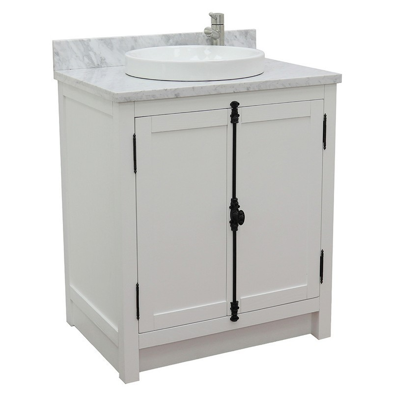 BELLATERRA 400100-GA-WMRD PLANTATION 31 INCH SINGLE VANITY IN GLACIER ASH WITH WHITE CARRARA TOP AND ROUND SINK