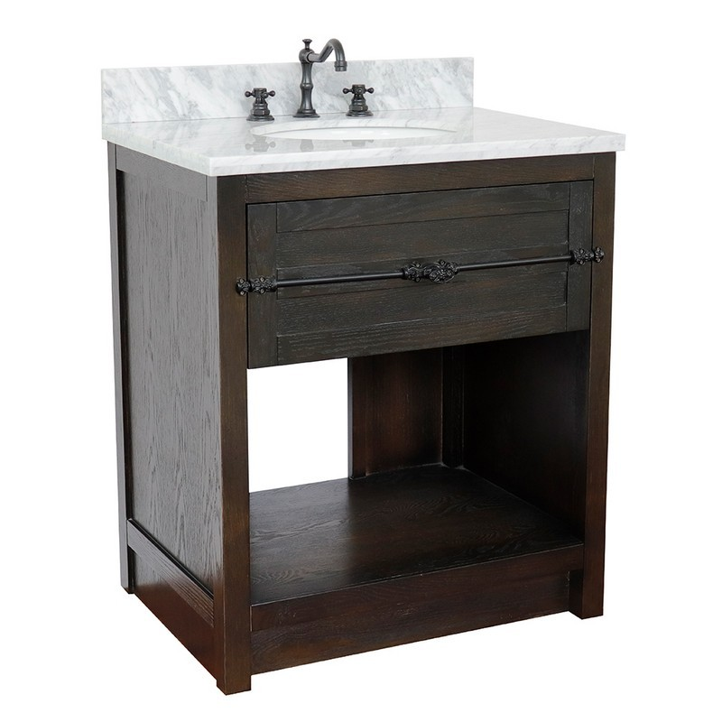 BELLATERRA 400101-BA-WMO PLANTATION 31 INCH SINGLE VANITY IN BROWN ASH WITH WHITE CARRARA TOP AND OVAL SINK