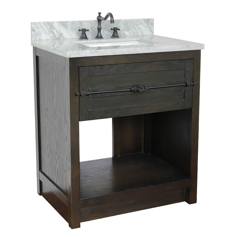 BELLATERRA 400101-BA-WMR PLANTATION 31 INCH SINGLE VANITY IN BROWN ASH WITH WHITE CARRARA TOP AND RECTANGLE SINK