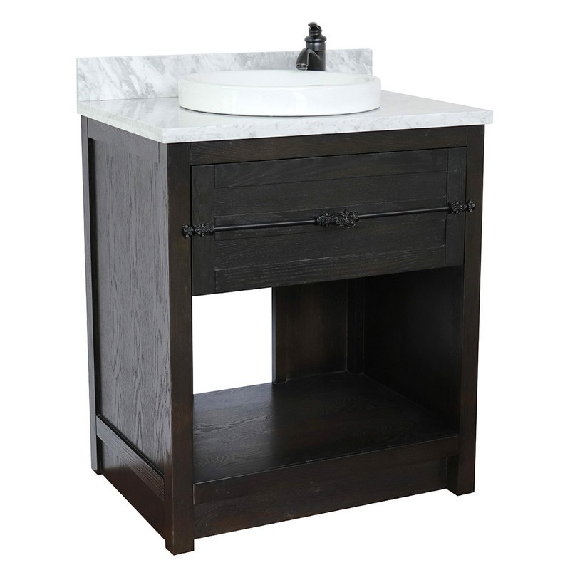 BELLATERRA 400101-BA-WMRD PLANTATION 31 INCH SINGLE VANITY IN BROWN ASH WITH WHITE CARRARA TOP AND ROUND SINK