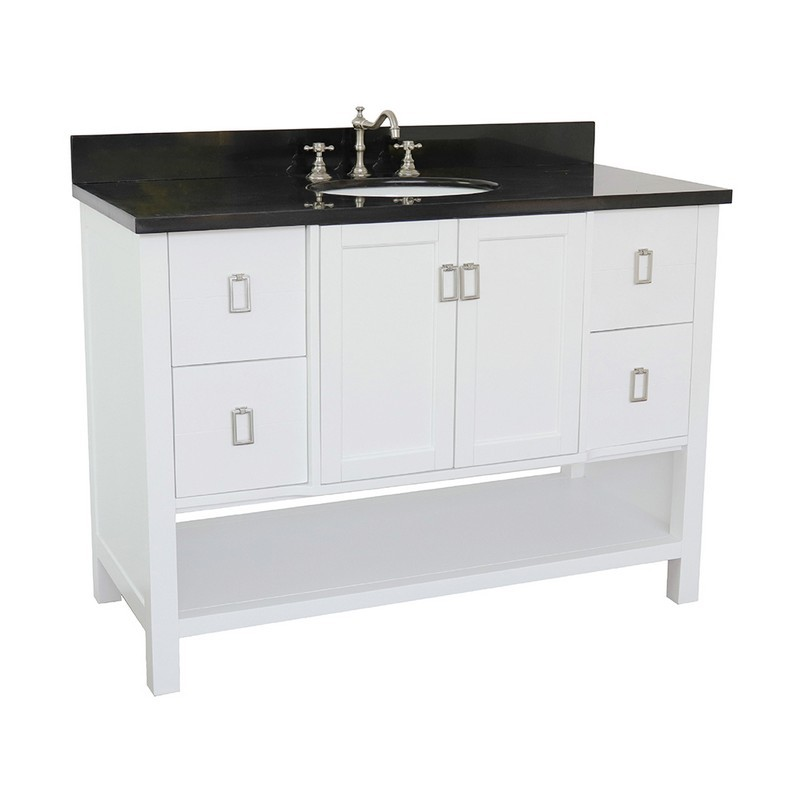BELLATERRA 400300-WH-BGO MONTEREY 49 INCH SINGLE VANITY IN WHITE WITH BLACK GALAXY TOP AND OVAL SINK