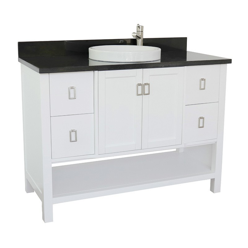 BELLATERRA 400300-WH-BGRD MONTEREY 49 INCH SINGLE VANITY IN WHITE WITH BLACK GALAXY TOP AND ROUND SINK