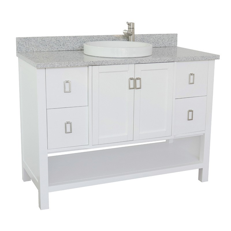 BELLATERRA 400300-WH-GYRD MONTEREY 49 INCH SINGLE VANITY IN WHITE WITH GRAY GRANITE TOP AND ROUND SINK